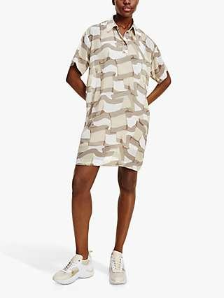 Tommy Hilfiger Flag Print Polo Shift Dress, Beige