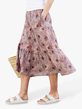 Baukjen Felice Batik Print Organic Cotton Skirt, Bordeaux/Multi