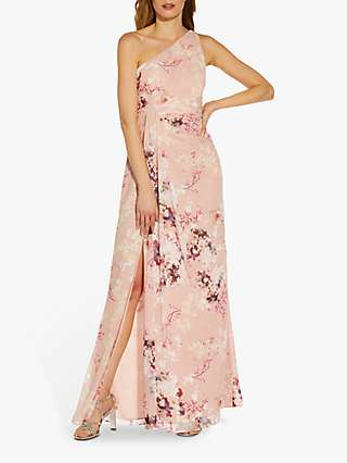 Adrianna Papell Floral Print Drape Gown, Pink Lace