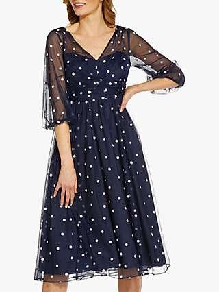Adrianna Papell Glitter Tulle Midi Dress, Navy