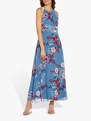 Adrianna Papell Floral Print Maxi Dress, Blue/Multi