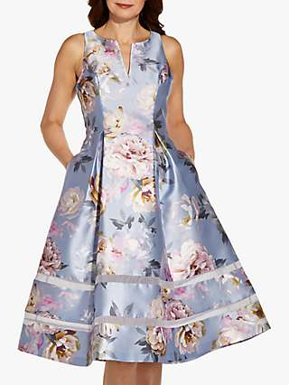 Adrianna Papell Mikado Floral Print Tea Dress, Clearwater/Multi