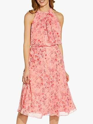 Adrianna Papell Floral Print Chiffon Midi Dress, Peach/Multi