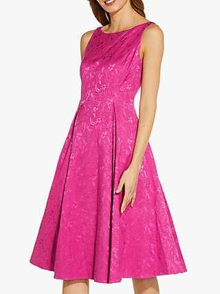 Adrianna Papell Textured Jacquard Midi Dress, Tropical Fuschia