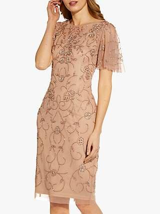 Adrianna Papell Beaded Mesh Dress, Rose Gold