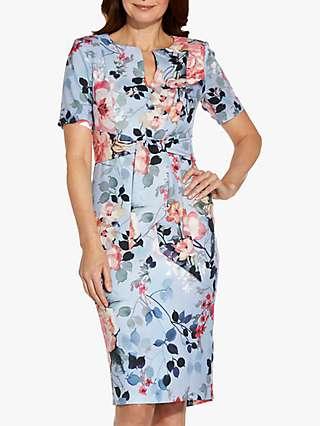 Adrianna Papell Floral Print Sheath Midi Dress, Blue/Multi