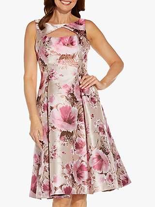 Adrianna Papell Floral Print Jacquard Midi Dress, Silver/Blush/Multi