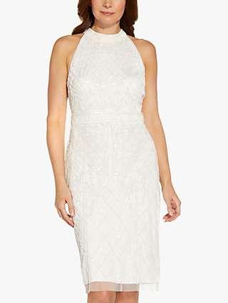 Adrianna Papell Beaded Halter Neck Dress, Ivory
