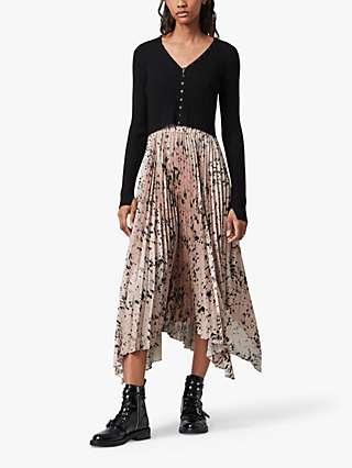 AllSaints Lorna Yermo 2-in-1 Dress, Black/Rose Pink