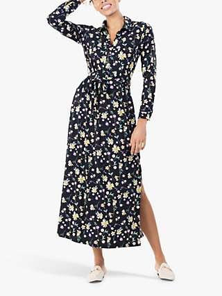 Jolie Moi Dora Floral Maxi Shirt Dress, Navy
