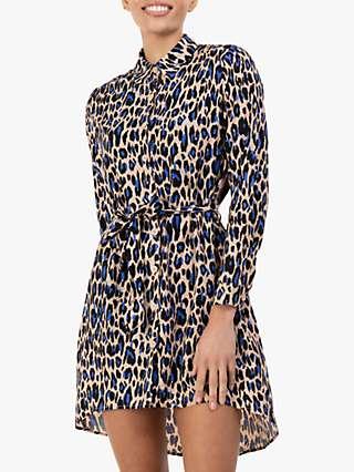 Jolie Moi Sylvia Leopard Print Shirt Dress