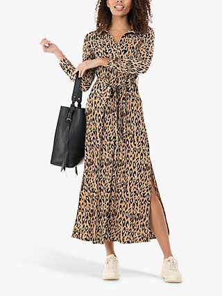 Jolie Moi Dora Leopard Maxi Shirt Dress, Camel