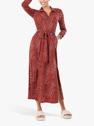Jolie Moi Dora Leopard Maxi Shirt Dress, Red