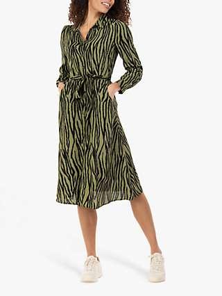 Jolie Moi Shea Zebra Print Shirt Dress, Green