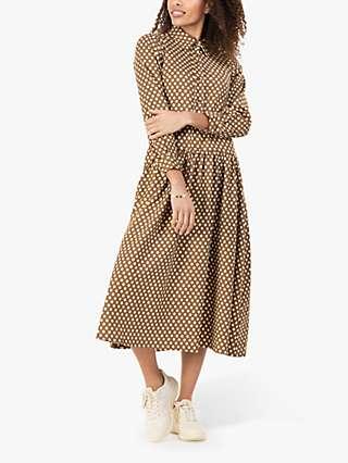 Jolie Moi Davina Polka Dot Midi Shirt Dress, Green