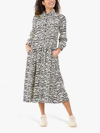 Jolie Moi Davina Zebra Print Midi Shirt Dress, White