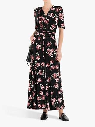Jolie Moi Bailee Floral Print Wide Leg Jumpsuit, Black/Pink