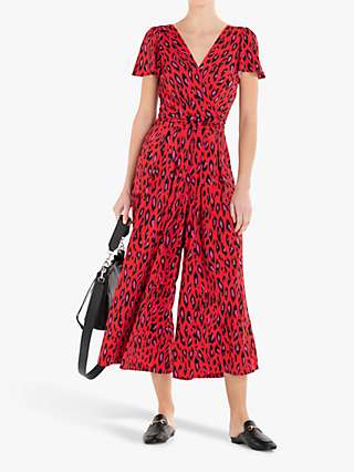 Jolie Moi Animal Print Wide Leg Cropped Jumpsuit, Red