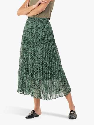 Jolie Moi Saige Animal Print Pleated Midi Skirt
