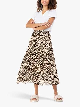Jolie Moi Leopard Print Chiffon Skirt, Beige