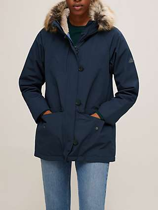 Barbour Warkworth Faux Fur Hood Parka Jacket, Navy