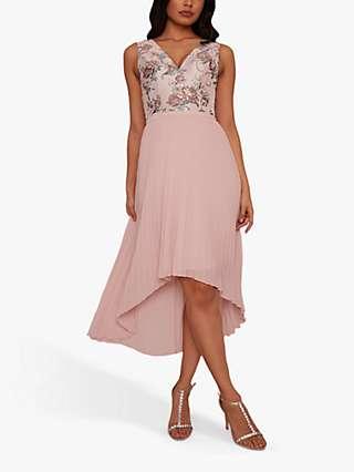 Chi Chi London Yuna Floral Dip Hem Dress, Mink