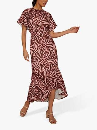 Chi Chi London Amber Cut Out Back Animal Print Dress, Pink