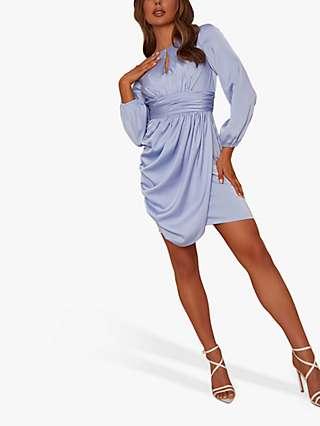 Chi Chi London Eva Draped Mini Dress, Blue