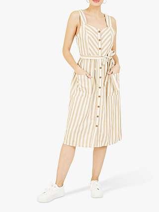 Yumi Striped Button Front Midi Dress, Brown