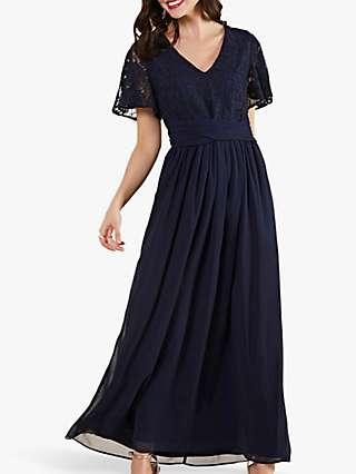 Yumi Lace Detail Wrap Tie Maxi Dress, Navy