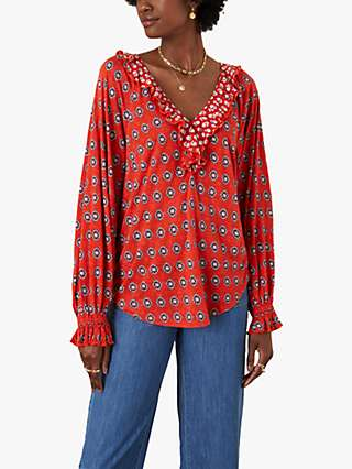 Monsoon Annelisse Spot Print Jersey Top, Red