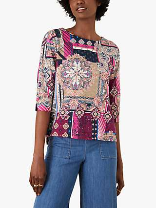 Monsoon Patch Print Jersey Top, Pink