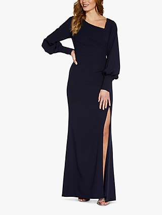 Adrianna Papell Crepe Embroidered Maxi Gown, Midnight