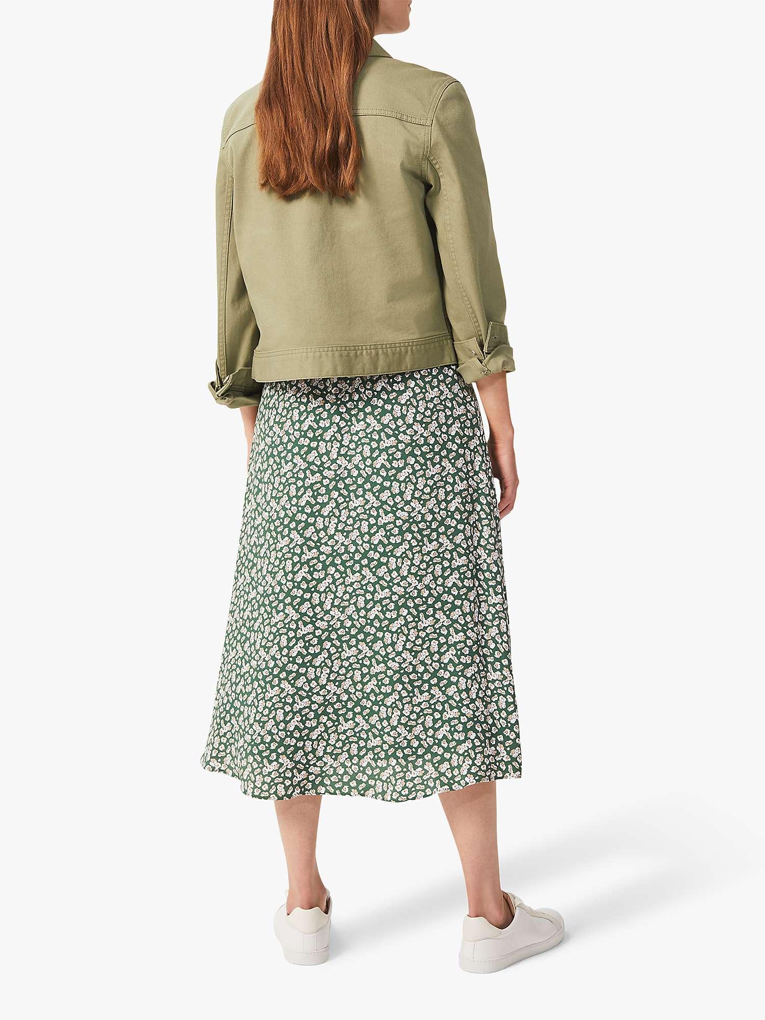 Hobbs Floral Print Midi Skirt, Green/Multi