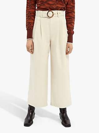 Maison Scotch Ankle Length Wide Leg Trousers, Ecru