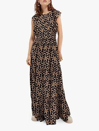 Maison Scotch Floral Maxi Dress, Black/Multi