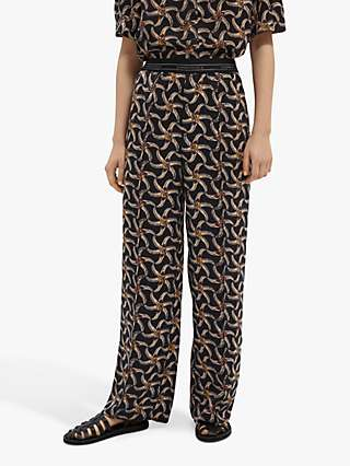 Maison Scotch Floral Print Wide Leg Trousers, Black/Combo F