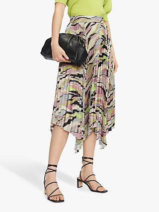 Ted Baker Pleated Abstract Print Skirt, Dusky Pink