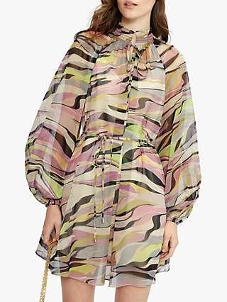 Ted Baker Sheer Blouson Mini Dress, Dusty Pink