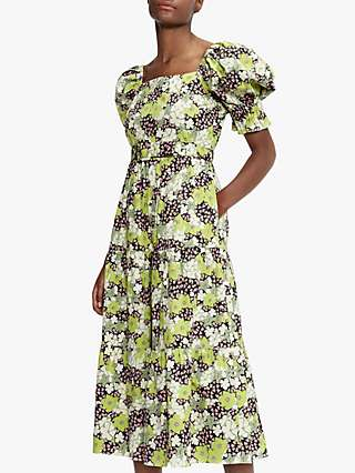 Ted Baker Floral Puff Sleeve Midi Dress, Green