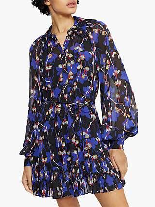 Ted Baker Floral Pleat Detail Mini Shirt Dress, Black