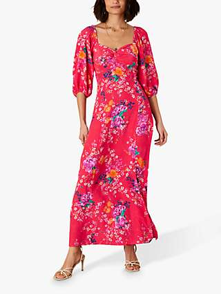 Monsoon Omi Floral Print Puff Sleeve Midi Dress, Red/Multi