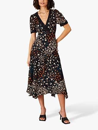 Monsoon Fia Animal Print Hanky Hem Midi Dress, Black/Multi