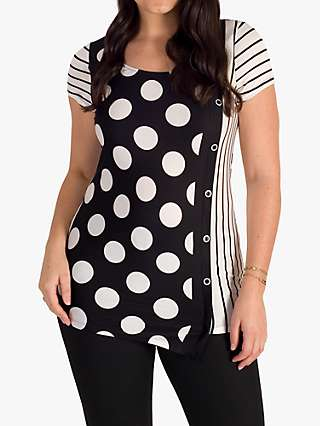 Chesca Button and Stripe Print Jersey Top, Black/Ivory