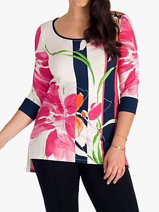 Chesca Floral and Stripe Jersey Top, Ivory/Pink
