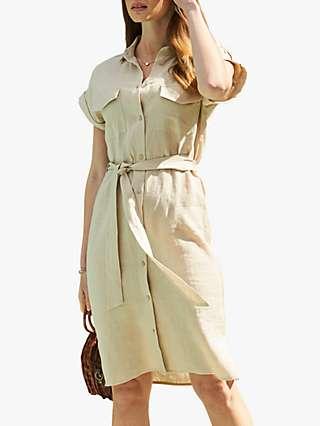 Sosandar Linen Knee Length Shirt Dress, Natural