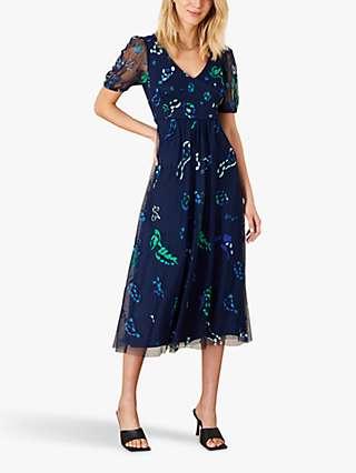 Monsoon Animal Print Midi Dress, Navy