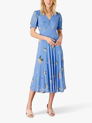 Monsoon Anastasia Foral Midi Dress, Blue