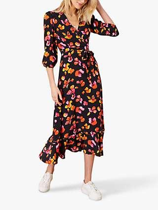 Monsoon Yazmin Floral Print Dress, Black