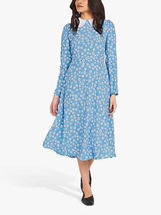 Finery Piper Ditsy Print Contrast Collar Dress, Blue/Ivory